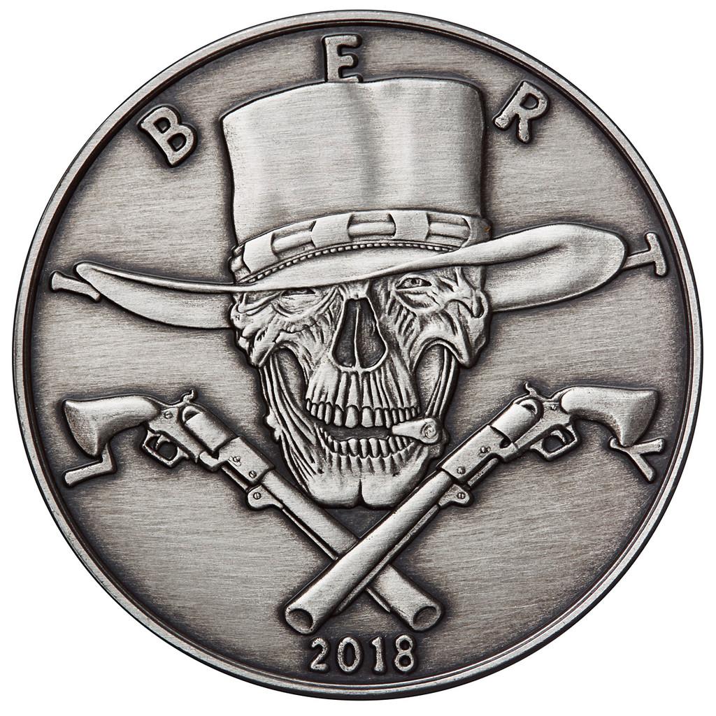 28b824f5b2c 2018 1 oz .999 Silver ANTIQUED Round Western Skulls GUNSLINGER ...