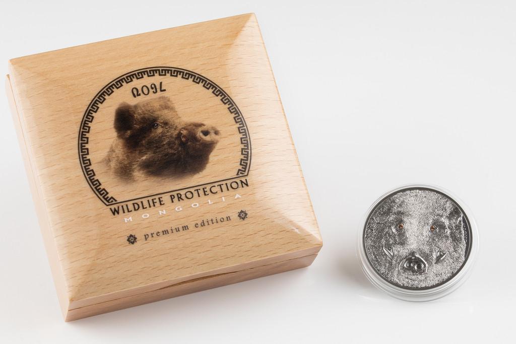 2018 MONGOLIA 1 Oz Silver WILD BOAR SUS SCROFA Antique Finish Coin