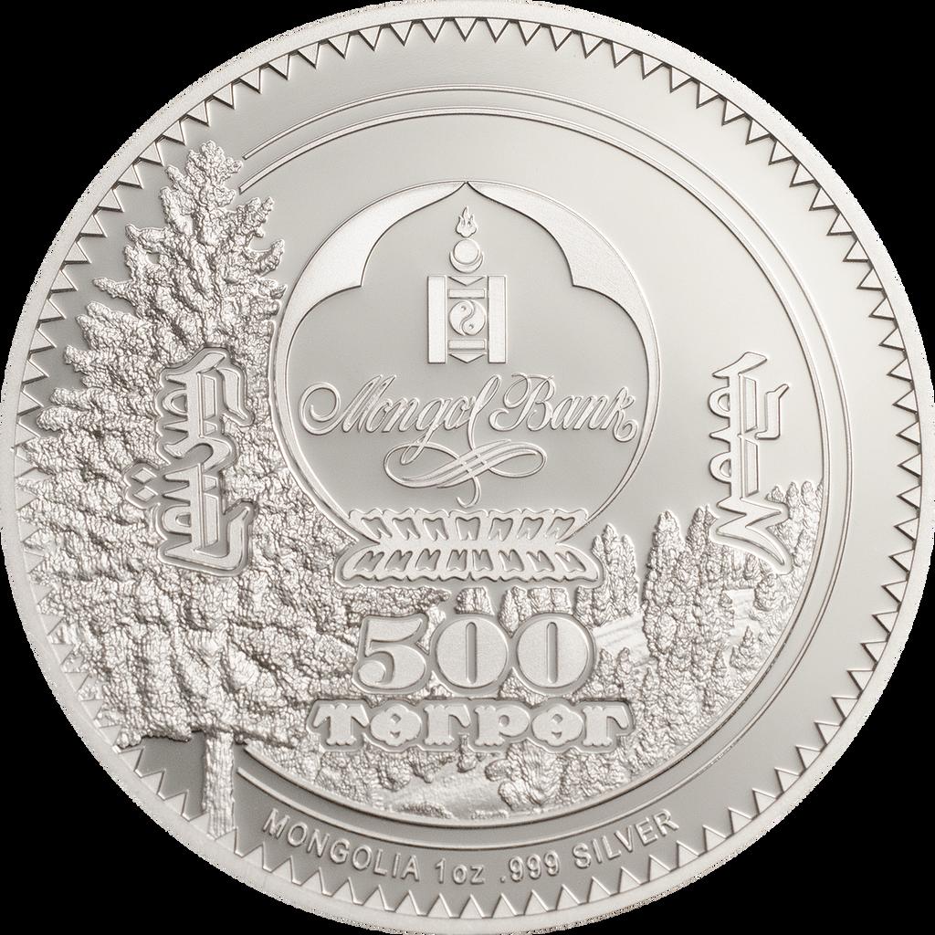 Mongolia 2018 500 Togrog Woodland Spirits Fox1oz Silver Proof Coin