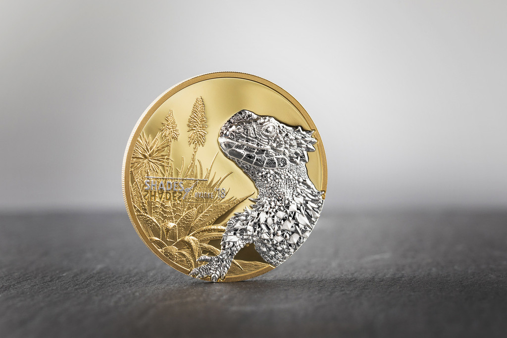 2018 Shades of Nature SUNGAZER LIZARD Gold Gilded 25g PROOF Silver $5 Coin