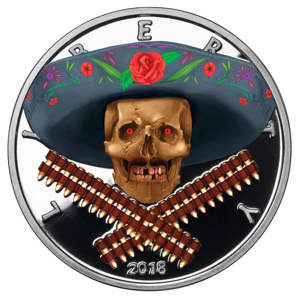 2018 1 oz .999 Silver COLORIZED Round Western Skulls MEXICAN BANDITO
