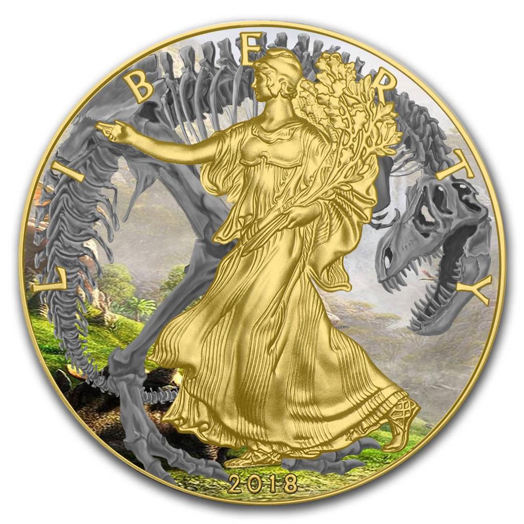 2018 1 oz .999 Silver w/Gold COLORIZED American Silver Eagle T-REX FOSSIL Coin