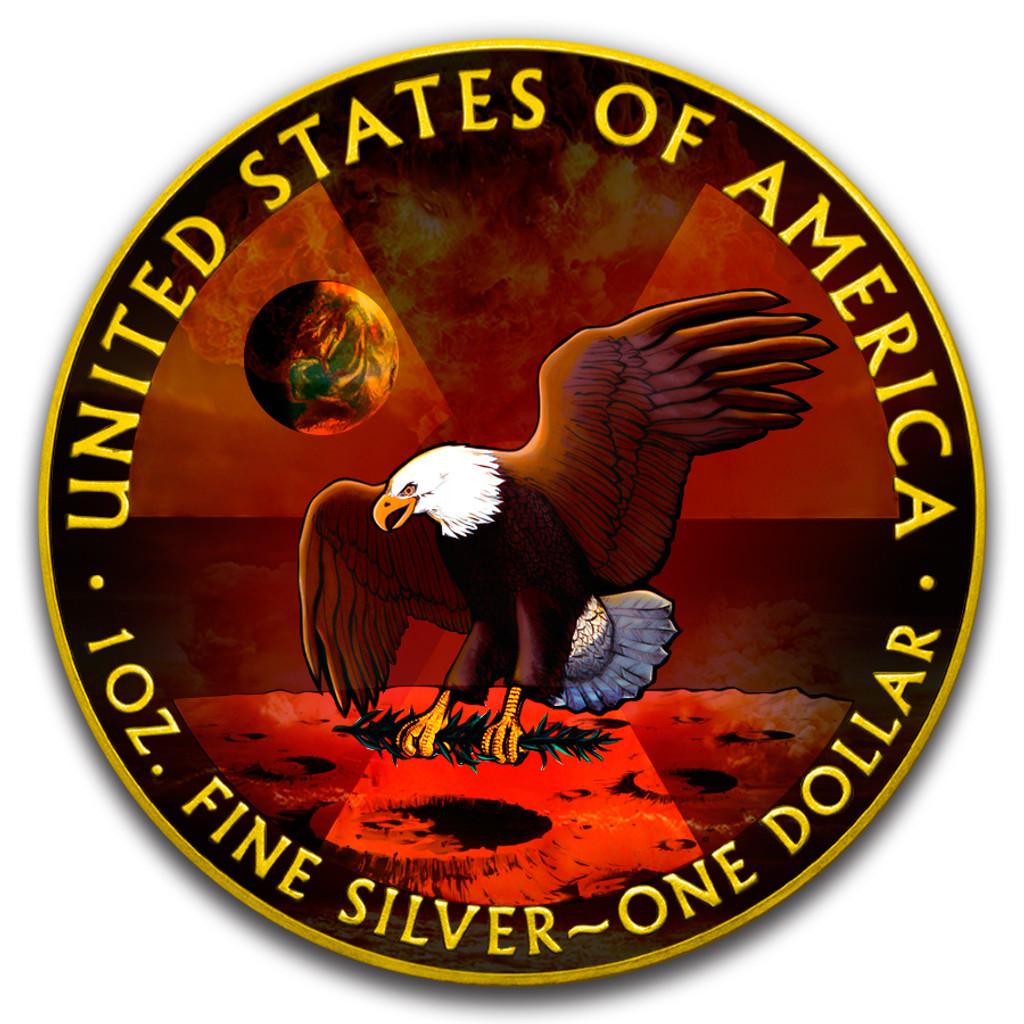 2019 AMERICAN EAGLE Armageddon Moon Colorized 1oz Silver coin COA $1