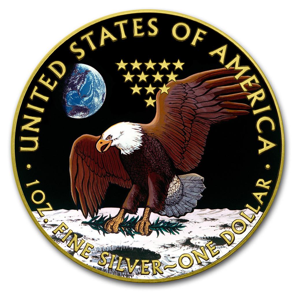 2019 AMERICAN EAGLE Apollo 11 Colorized 1oz Silver coin COA $1