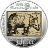 2013 Cook Islands $5 Rhinoceros Albrecht Durer silver coin