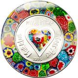 2015 Murrine Millefiori Glass Art $5 Silver Coin - Cook Islands