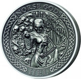 "2015 NORSE GODS Series ""HEL"" 2 oz Silver Coin $10 Cook Islands COA Box"