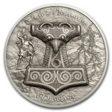 2017 THOR'S HAMMER Mjöllnir 2 oz Silver Coin UH Relief $10 Cook Islands