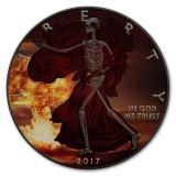 2017 AMERICAN EAGLE Armageddon Skeletal Edition Colorized 1oz Silver coin COA $1