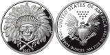 2017 5 oz .999 Silver PROOF Round Western Skulls INDIAN CHIEF