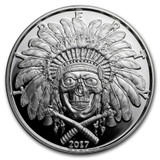 2017 1 oz .999 Silver PROOF Round Western Skulls INDIAN CHIEF
