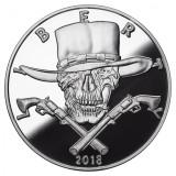 2018 5 oz .999 Silver PROOF Round Western Skulls GUNSLINGER