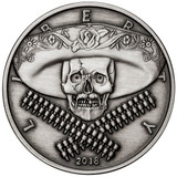 2018 5 oz .999 Silver ANTIQUED Round Western Skulls MEXICAN BANDITO