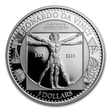 "2019 1 oz Silver Coin ""Leonardo da Vinci: Vitruvian Man"" $5  Solomon Islands"
