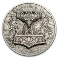 2017 THOR'S HAMMER Mjöllnir 2 oz Silver Coin UH Relief $10 Cook Islands