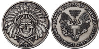 2017 1 oz .999 Silver ANTIQUED Round Western Skulls INDIAN CHIEF
