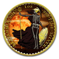 2017 BRITANNIA  Armageddon Skeletal Edition Colorized 1oz Silver coin COA £2