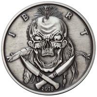 2018 1 oz .999 Silver ANTIQUED Round Western Skulls INDIAN BRAVE