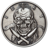 2018 5 oz .999 Silver ANTIQUED Round Western Skulls INDIAN BRAVE