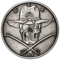 2018 5 oz .999 Silver ANTIQUED Round Western Skulls CAVALRYMAN