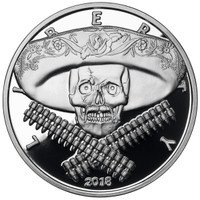 2018 1 oz .999 Silver PROOF Round Western Skulls MEXICAN BANDITO