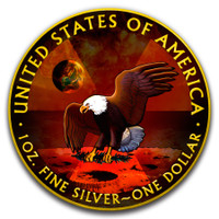 2019 AMERICAN EAGLE Armageddon Moon Colorized 1oz Silver coin COA $1