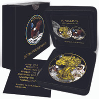 2019 AMERICAN EAGLE Apollo 11 Colorized 1oz Silver coin COA $1