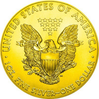 Copy of 2018 1 oz .999 Silver w/Gold COLORIZED American Silver Eagle PTERODACTYL FOSSIL Coin
