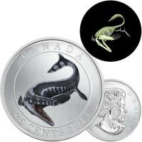 Prehistoric Animals: Tylosaurus Pembinensis - 25-Cent Coloured Glow-in-the-Dark Coin (2013)