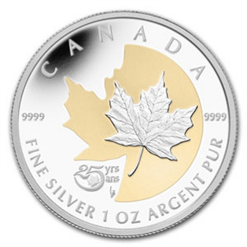 CANADA 2013 - 25th ANNIVERSARY of the SILVER MAPLE LEAF COIN, SILVER/GOLD Proof
