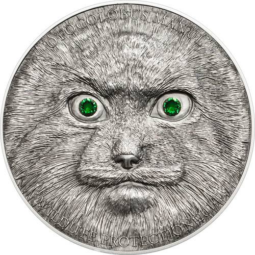 2014 Wildlife Protection Series MANUL, Antque Finish with Swarovski Crystals 1 oz Silver