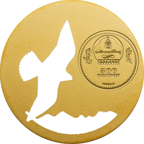 2015 Mongolian Nature - Saker Falcon 500 Tugriks Silver & Gold Coin - Mongolia