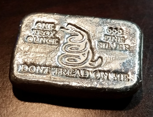 """1 oz Hand Pour Silver Bar STACKERS MINT Series """"DONT TREAD ON ME"""" 2015"""
