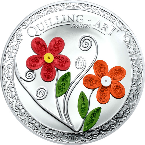 """2016 QUILLING ART """"FLOWERS"""" Silver Coin Cook Islands $2"""