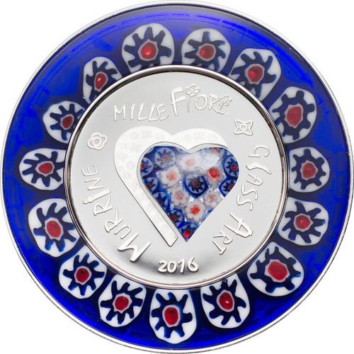2016 Murrine Millefiori Glass Art $5 Silver Coin - Cook Islands