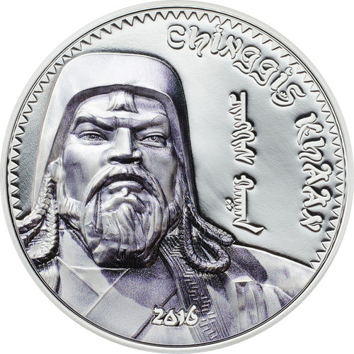 2016 Mongolia 1000 Togrog Chinggis Khaan 1 Silver Coin, SmartMinted