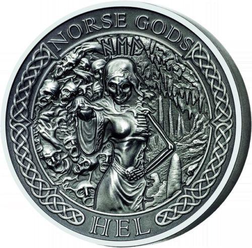 """2015 NORSE GODS Series """"HEL"""" 2 oz Silver Coin $10 Cook Islands COA Box"""
