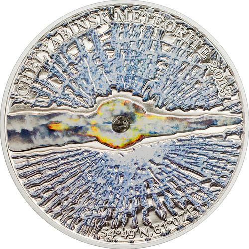 2013 CHELYABINSK METEORITE METEOR Silver Coin 5$ Cook Islands