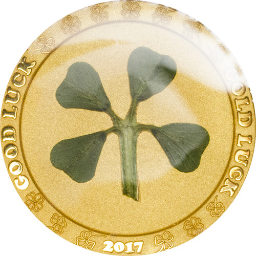 2017 Four Leaf Clover (Good Luck - Gold Luck) $1 1g gold .9999 proof.