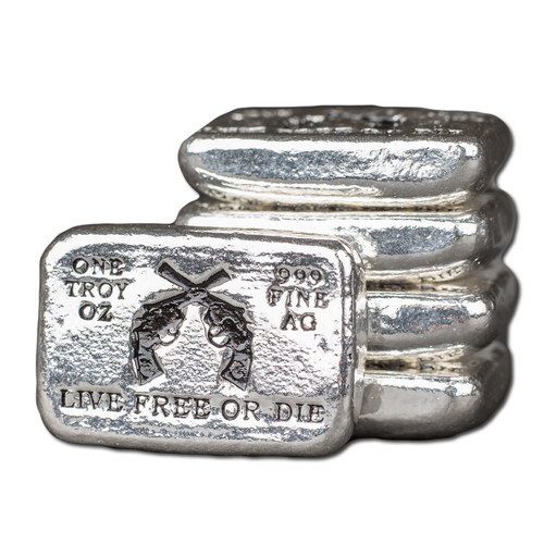 """(5x) 1 oz Hand Pour Silver Bar STACKERS MINT Series """"LIVE FREE OR DIE"""" 2016"""