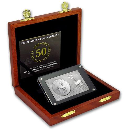 2017 3 oz 50th Anniversary Krugerrand Silver Bar and Coin Set Box COA