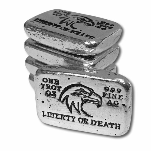 """(5x) 1 oz Hand Pour Silver Bar STACKERS MINT Series """"LIBERTY OR DEATH"""" 2017"""