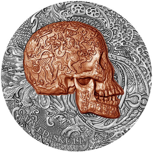"2017 ""CARVED SKULLS and BONES"" 1 oz .999 Fine Silver Coin Cameroon 1000 Francs"