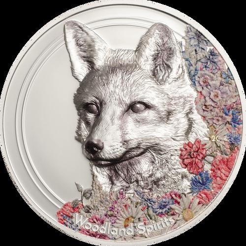 2018 MONGOLIA 1 Oz PROOF Silver 500Togrog WOODLAND SPIRITS FOX Coin