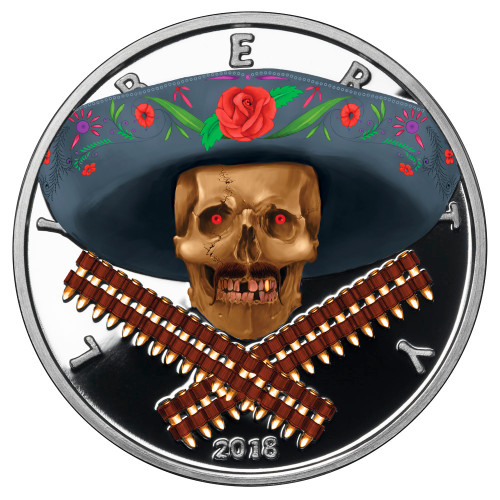 2018 1 oz .999 Silver COLORIZED Round Western Skulls MEXICAN BANDITO