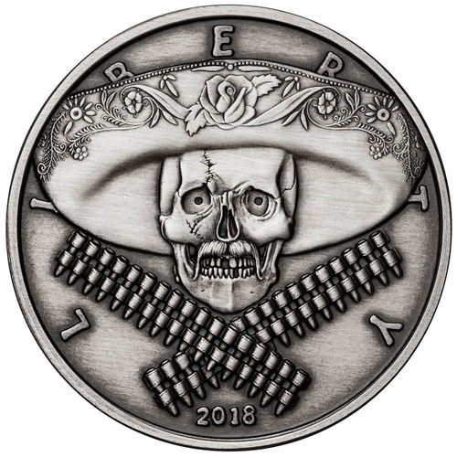 2018 1 oz .999 Silver ANTIQUED Round Western Skulls MEXICAN BANDITO