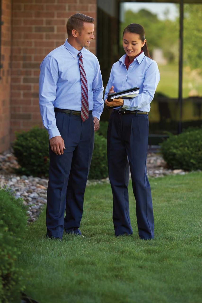 Pure cotton pleated uniform pants