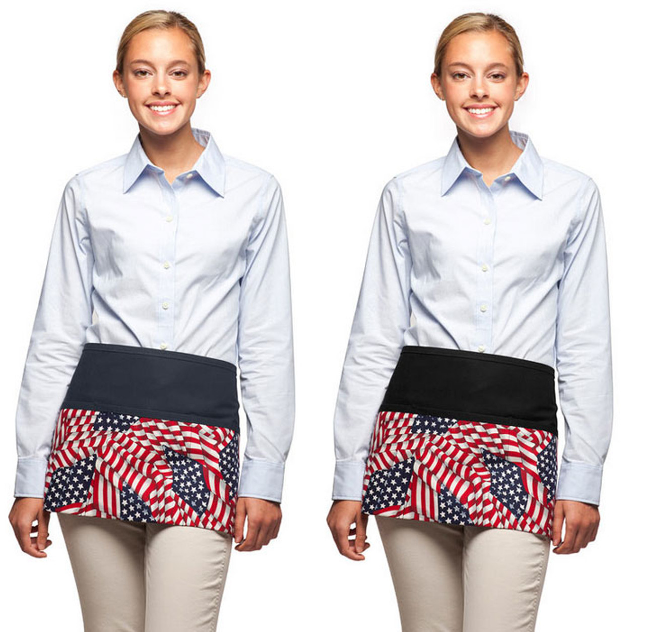 Black and navy based american flag aprons