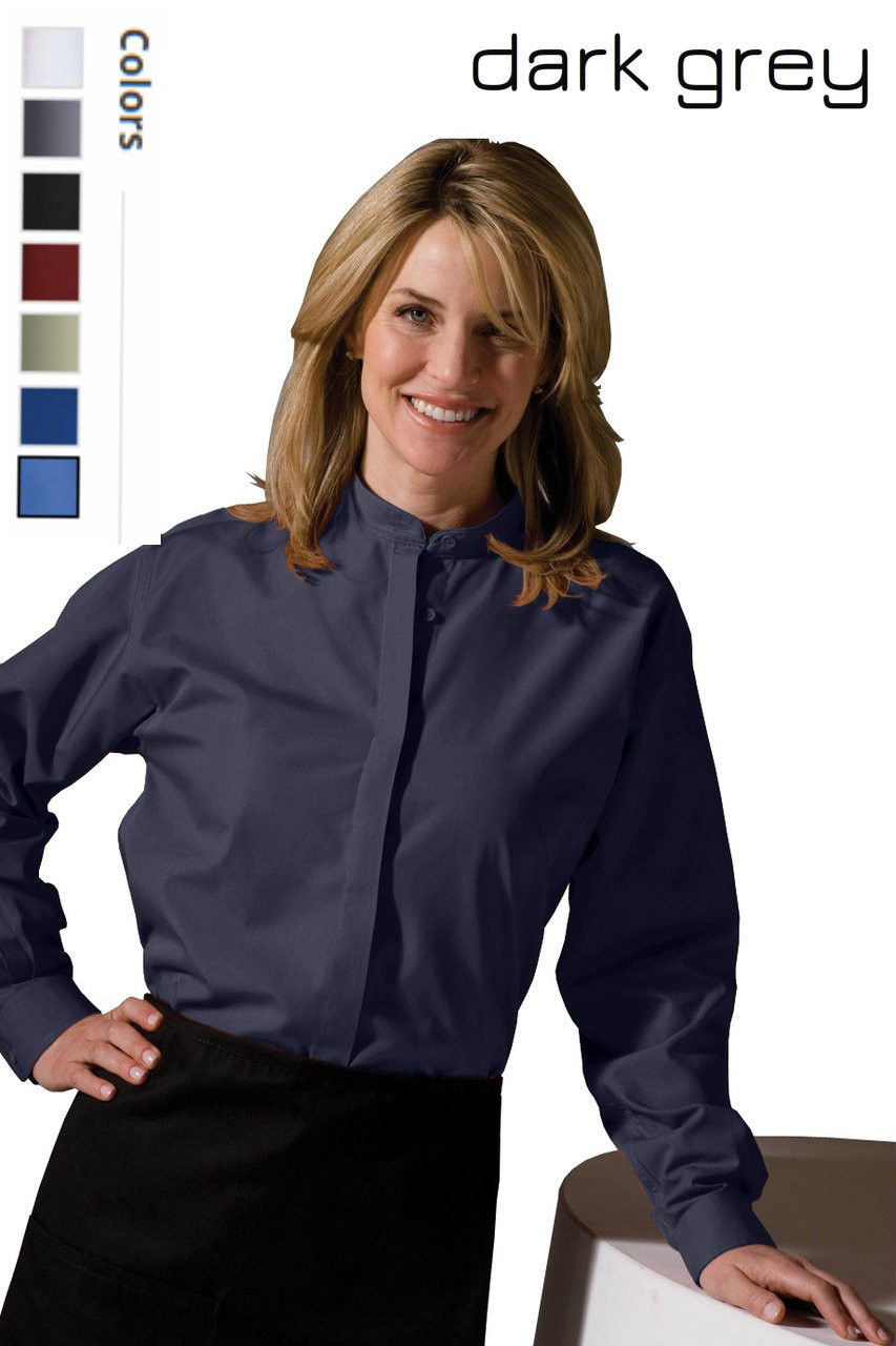 Banded collar uniform shirts are great because you don't need a tie!