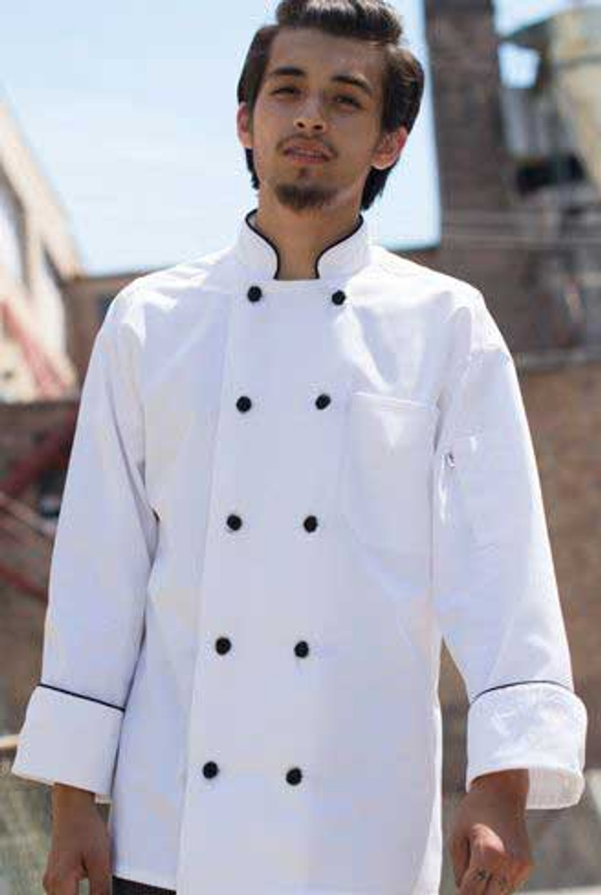 This chef coat is stylish and simple with black accents